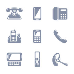 Set of glyph phone icons