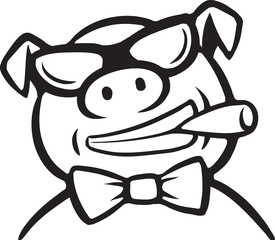 whiteboard drawing - cartoon pig boss with cigar