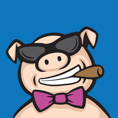 Cartoon pig boss with cigar