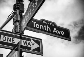Street sign at the corner of 10th ave and 33rd st, Manhattan