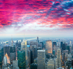 Stunning sunset over Midtown Manhattan, aerial view of New York