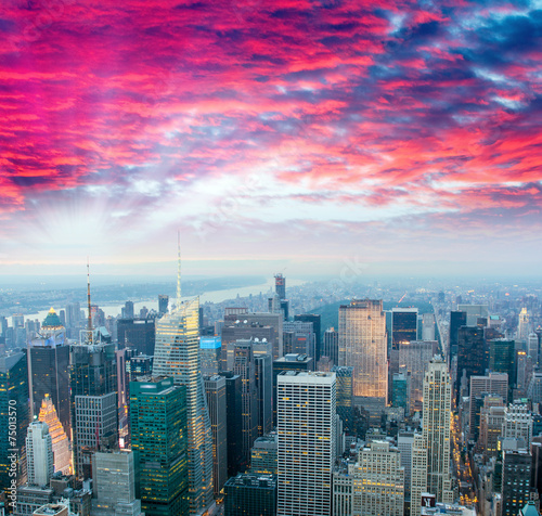 Stunning sunset over Midtown Manhattan, aerial view of New York - 75013570