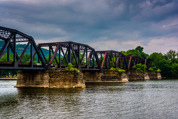 Train bridge over the Susquehanna River, seen from Shikellamy St