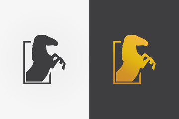 Vector logo design element. Knight, steed