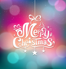 Merry Christmas greeting card lettering design background