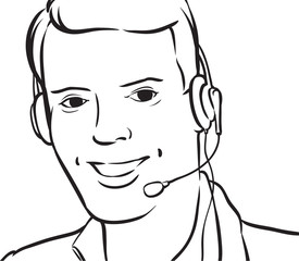 whiteboard drawing - customer service man with headset