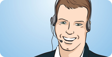 businessman with headset smiling