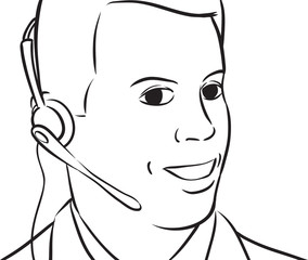 whiteboard drawing - businessman with headset talking