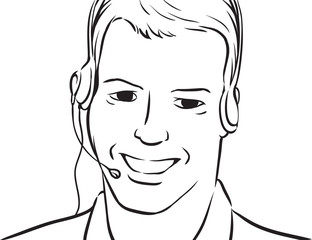 whiteboard drawing - businessman smiling with headset