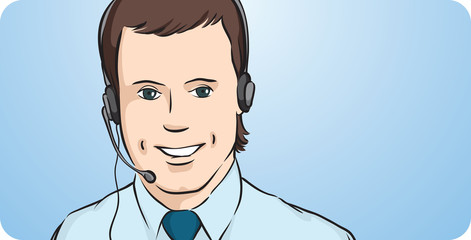 call center worker with headset smiling