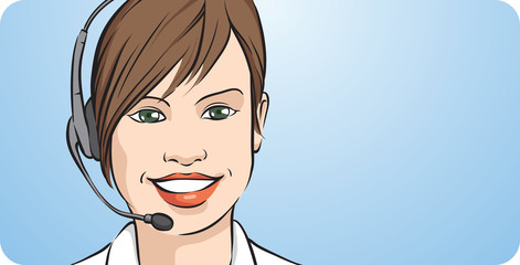 customer support young woman smiling with headset