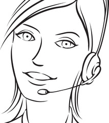 whiteboard drawing - customer support brunette woman smiling wit