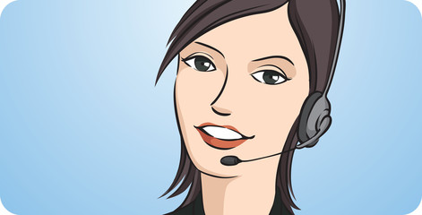 call center woman smiling with headset