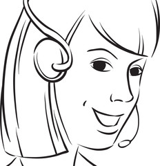 whiteboard drawing - customer support_young_woman smiling with h