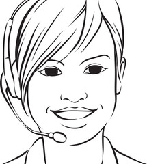 whiteboard drawing - customer service brunette woman smiling wit