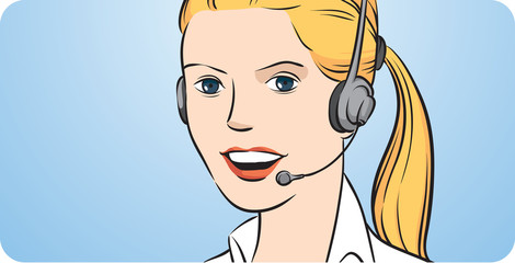 Customer support blond woman with headset