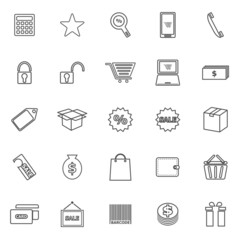 Shopping line icons on white background