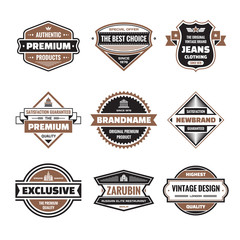 Vector graphic badges collection. Original vintage logos.
