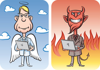 Angel and Devil with Laptop Computers