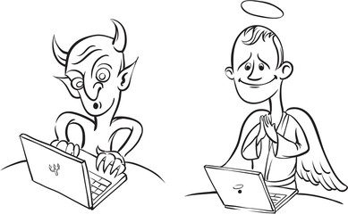 whiteboard drawing - devil and angel with laptop computer