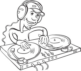 whiteboard drawing - DJ playing on a double turntable