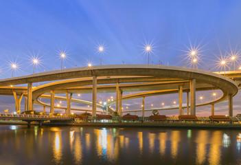 Huge elevated crossroad (Bhumibol bridge) of Bangkok, Thailand
