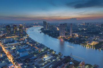 Curved view of  Chao Phraya River in Bangkok, sunset Thailand