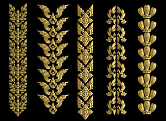 border thai pattern art vector