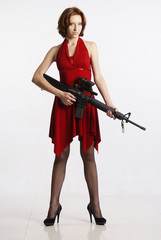 Lady and rifle