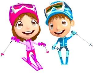 子供 スキー スキー教室 イラスト