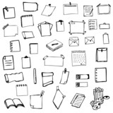 set of drawing paper sketch vector illustration