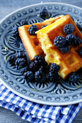 Breakfast waffles with berries