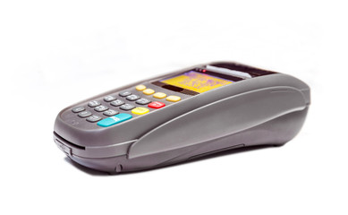 Terminal for payment on a white background
