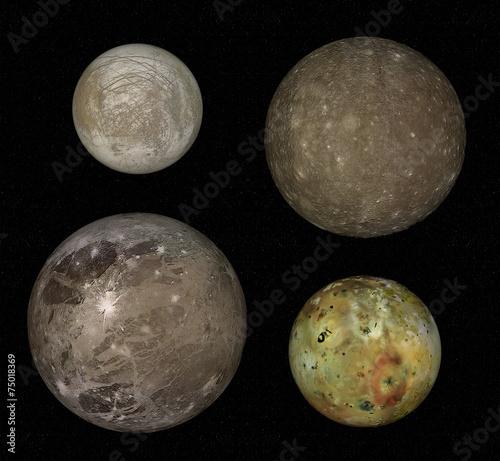 Fototapeta Jupiter and four biggest moons