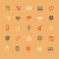 Internet entrepreneur line icons with reflect