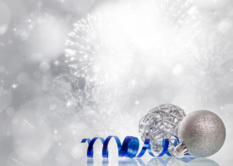 Magic Christmas background with silver Christmas decoaration
