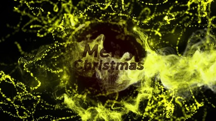 Merry Christmas Gold Text and Particles