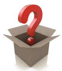 Cardboard box with question mark