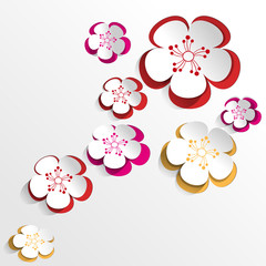 Colorful flowers Background in Paper Cut Style