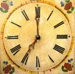 clock face dial vintage wooden