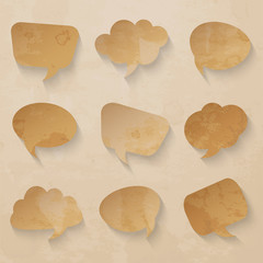Set of paper speech bubbles