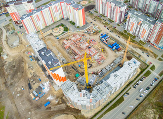 Bird eye view on construction site in Tyumen