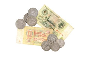 money soviet coins roubles lenin isolated