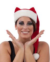 Donna sorridente a Natale