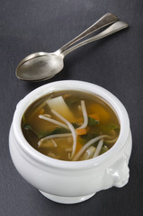 miso soup in a white bowl
