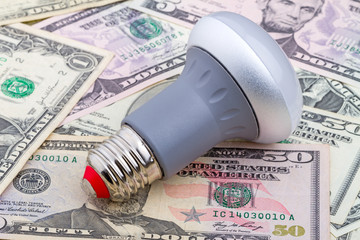 LED light bulb on dollar