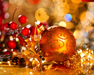 New Year Decoration. Golden Baubles and Christmas Decorations