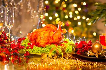 Christmas table setting with turkey. Christmas dinner