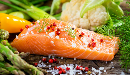 Fresh salmon fillet  with vegetable