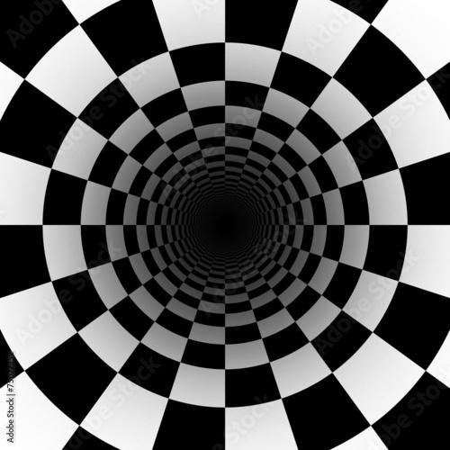 Spoed canvasdoek 2cm dik Tunnel black and white checkerboard